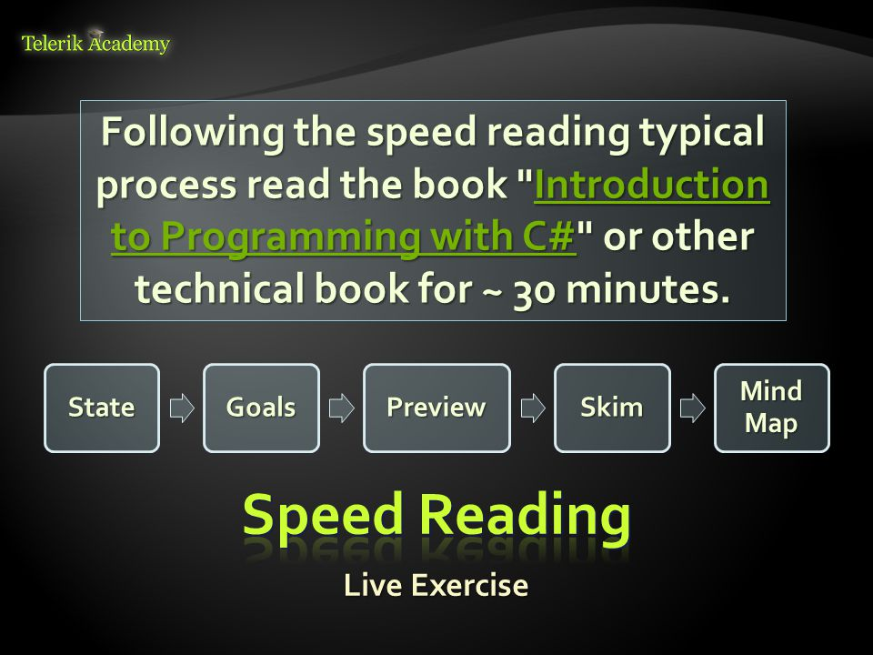 Following the speed reading typical process read the book Introduction to Programming with C# or other technical book for ~ 30 minutes.