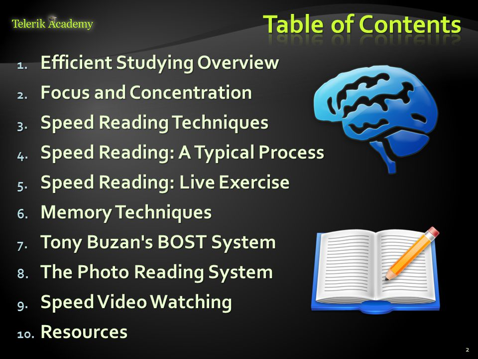 Table of Contents Efficient Studying Overview Focus and Concentration