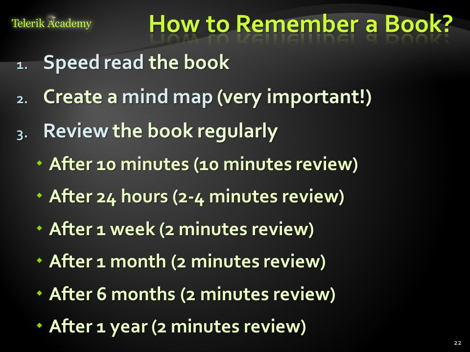How to Remember a Book Speed read the book
