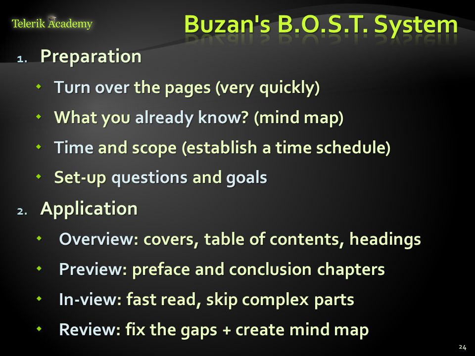 Buzan s B.O.S.T. System Preparation Application