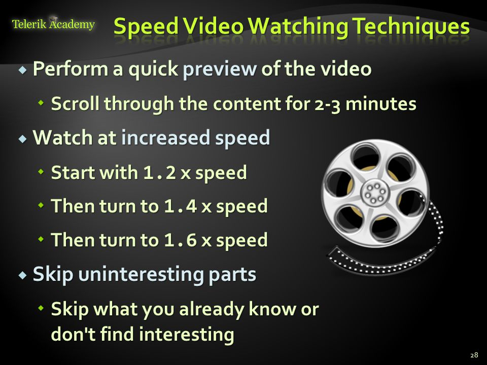 Speed Video Watching Techniques