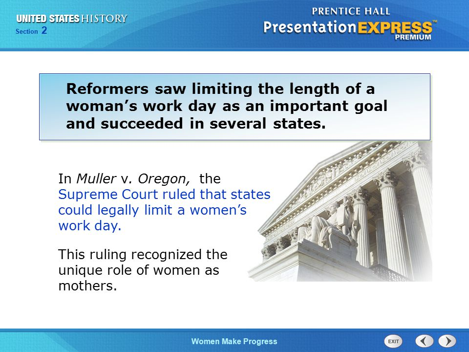 Reformers saw limiting the length of a woman's work day as an important goal and succeeded in several states.