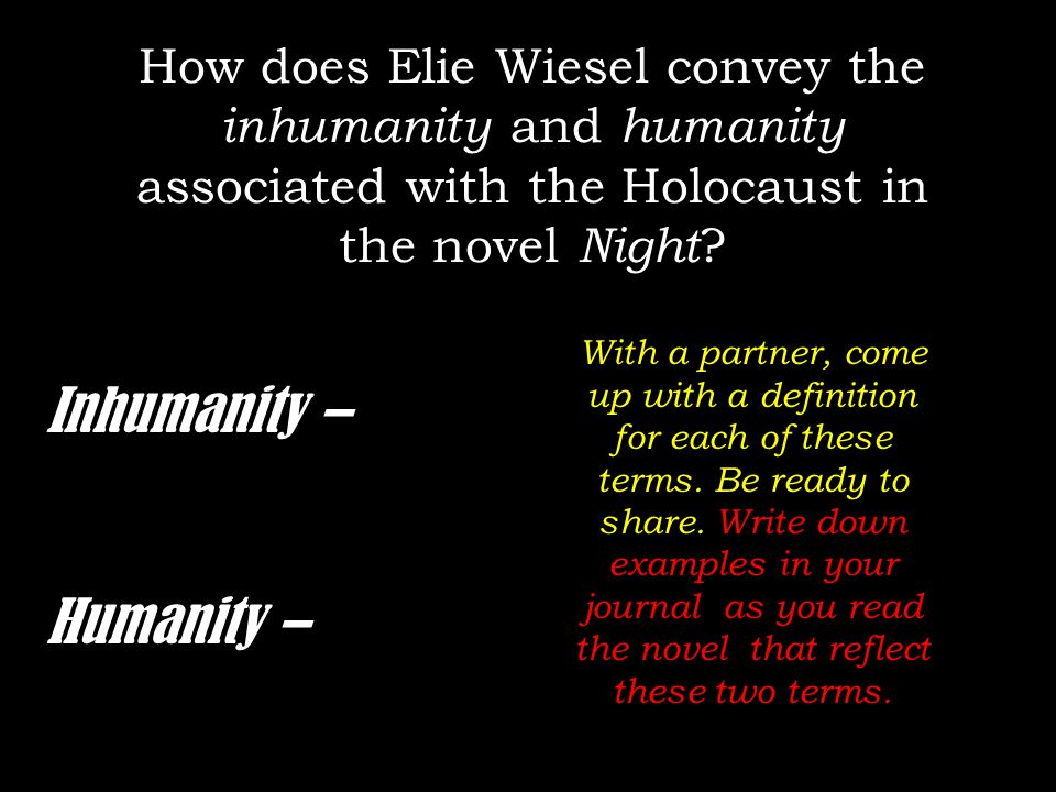 the holocaust and book title night Never shall i forget that night, the first night in camp, which has turned my life   his more than 40 books have won numerous awards, including the prix  the  humanities at boston university where he also held the title of university  professor.