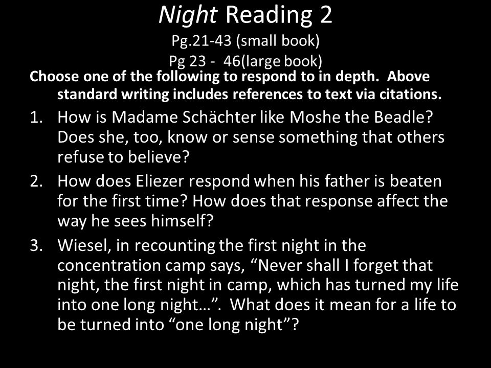Night Reading 2 Pg.21-43 (small book) Pg 23 - 46(large book)