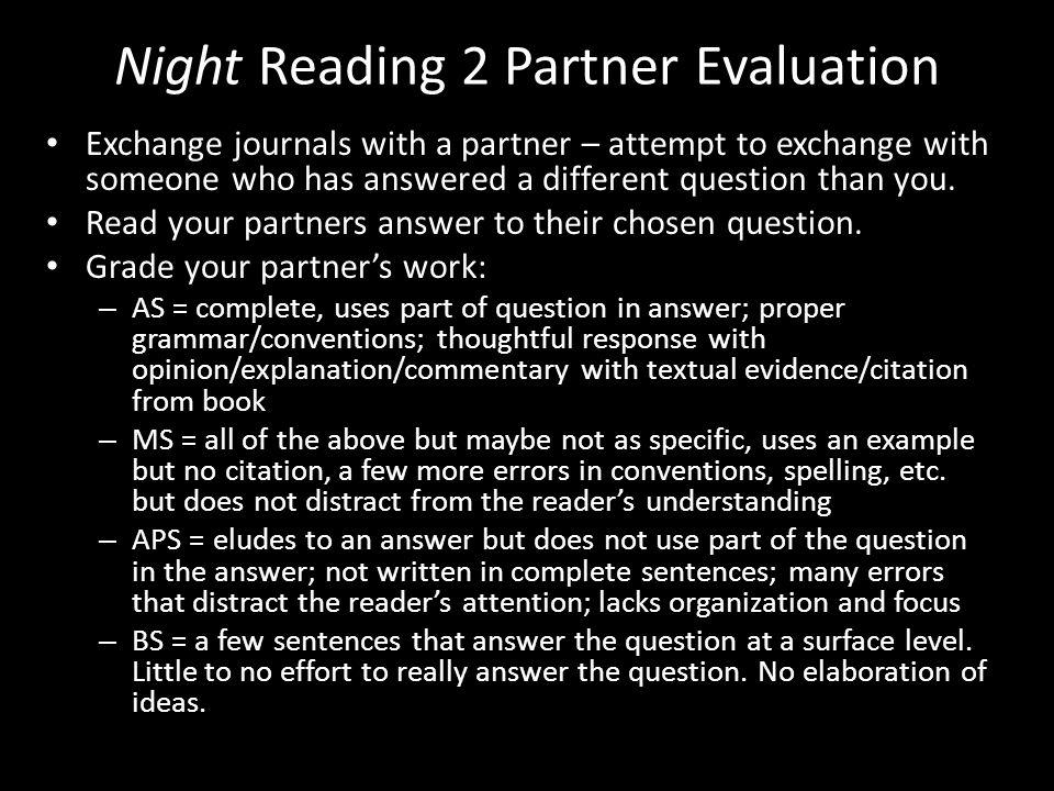 Night Reading 2 Partner Evaluation