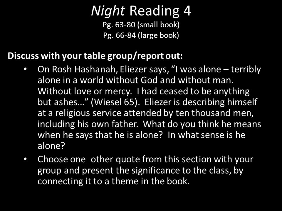 Night Reading 4 Pg. 63-80 (small book) Pg. 66-84 (large book)