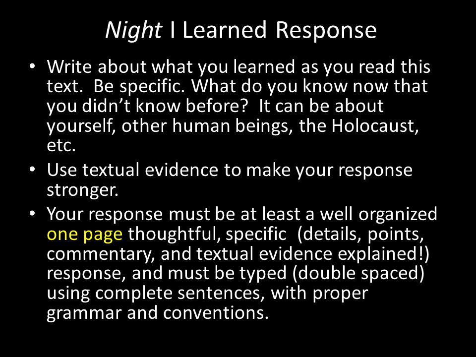 Night I Learned Response