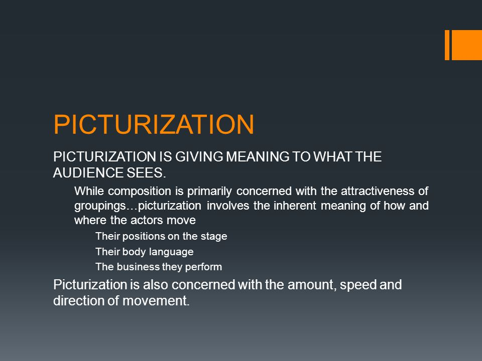 PICTURIZATION PICTURIZATION IS GIVING MEANING TO WHAT THE AUDIENCE SEES.