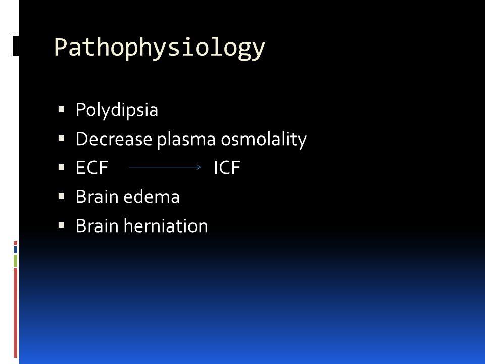 Pathophysiology Polydipsia Decrease plasma osmolality ECF ICF