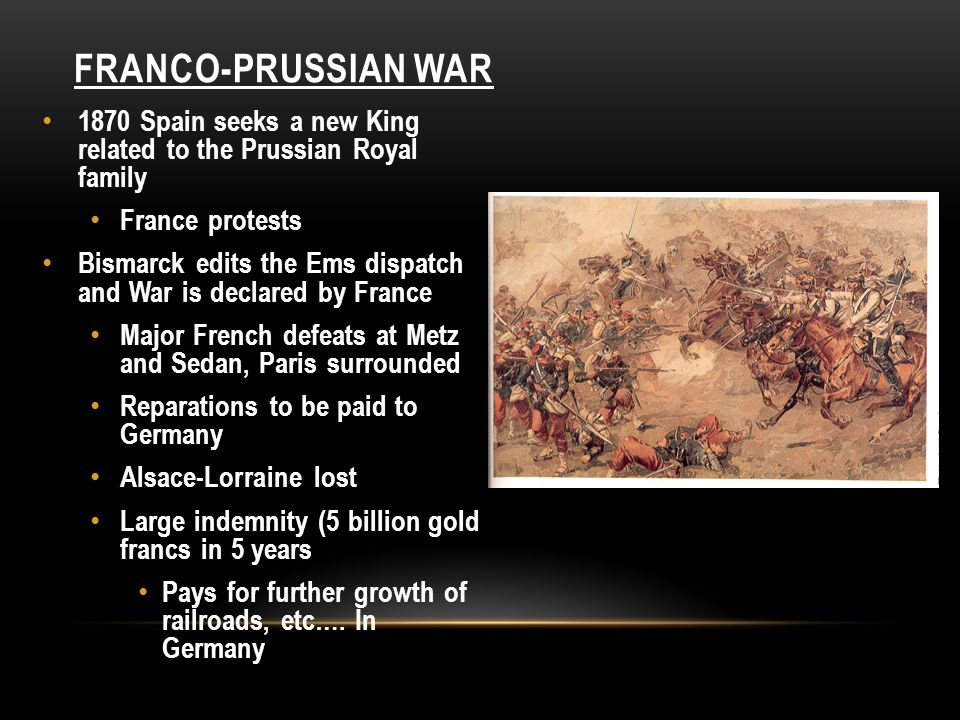 Franco-Prussian War 1870 Spain seeks a new King related to the Prussian Royal family. France protests.
