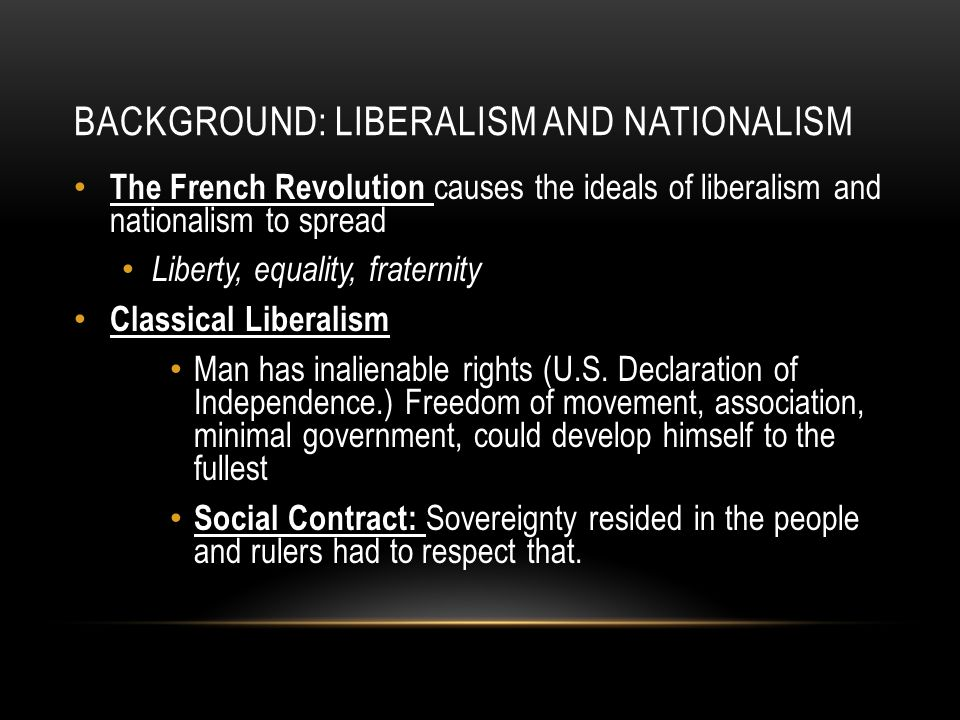 Background: Liberalism and Nationalism