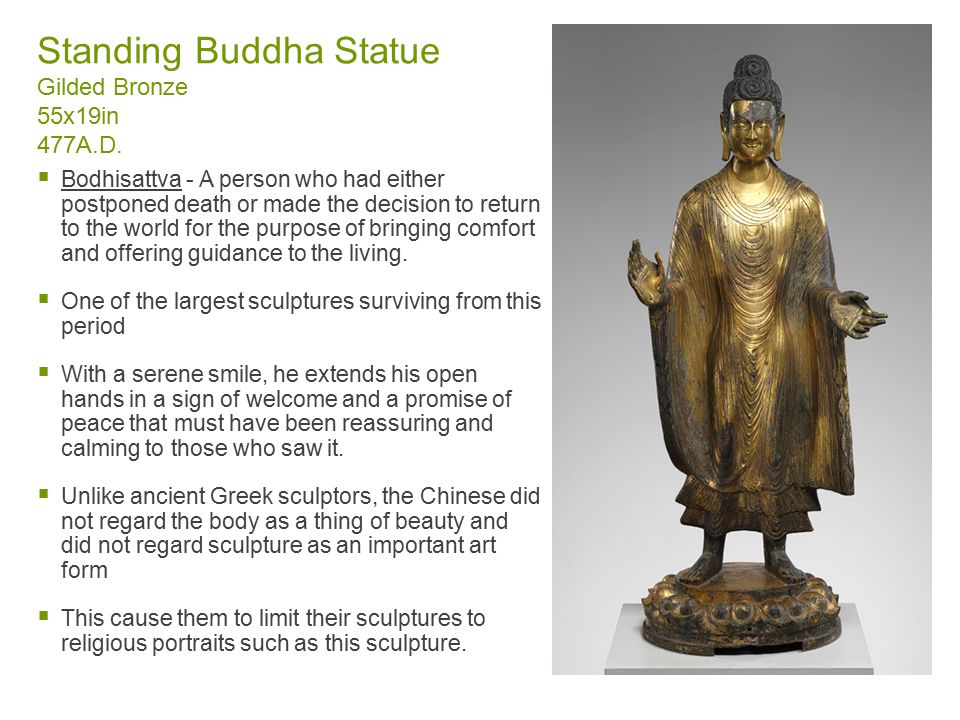 Standing Buddha Statue Gilded Bronze 55x19in 477A.D.