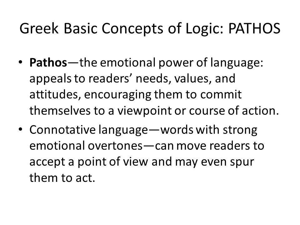 Greek Basic Concepts of Logic: PATHOS