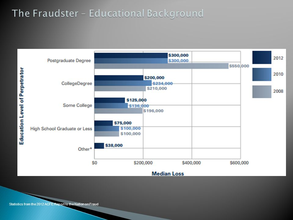 The Fraudster – Educational Background