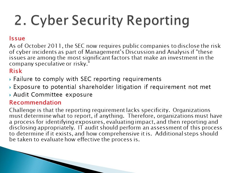 2. Cyber Security Reporting