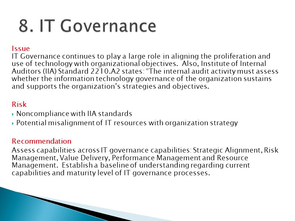 8. IT Governance Issue.