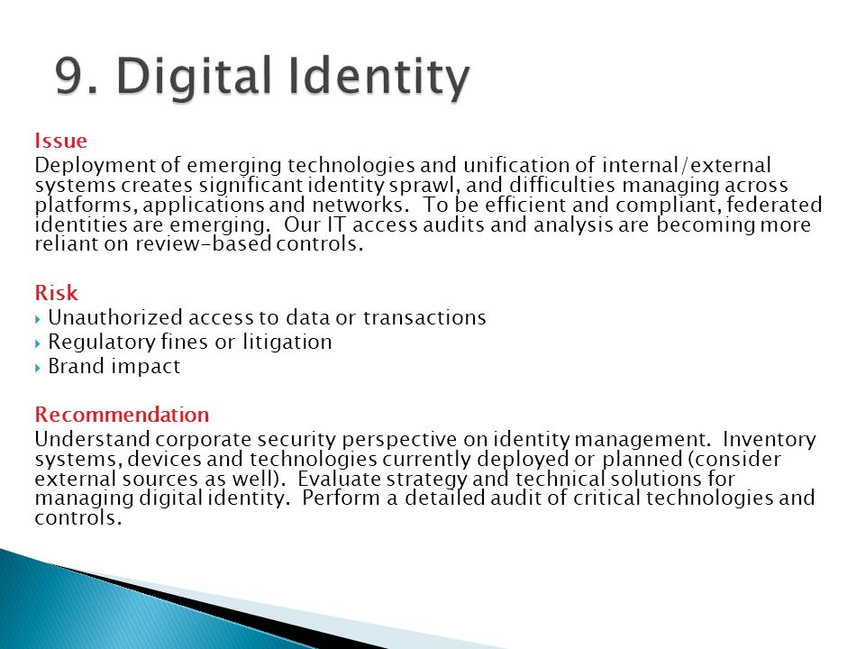 9. Digital Identity Issue