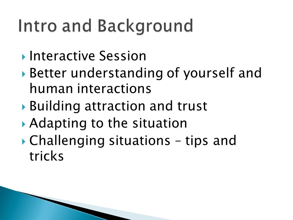 Intro and Background Interactive Session