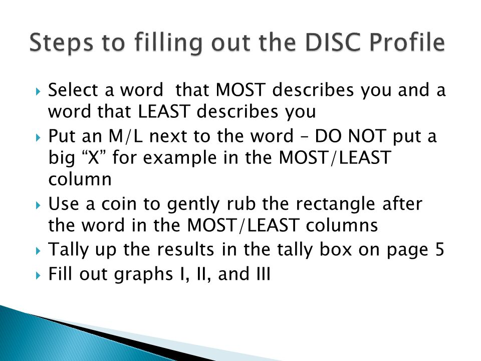 Steps to filling out the DISC Profile