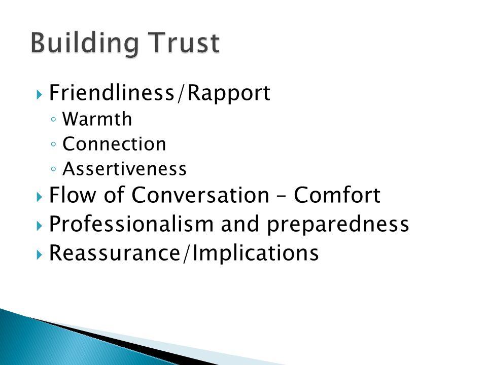 Building Trust Friendliness/Rapport Flow of Conversation – Comfort