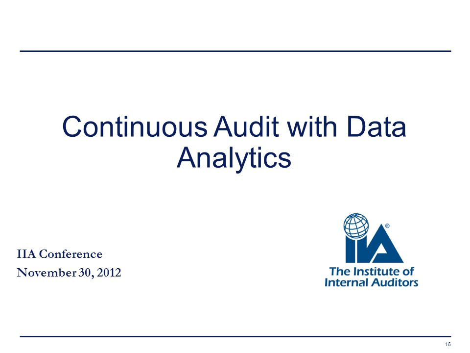 Continuous Audit with Data Analytics