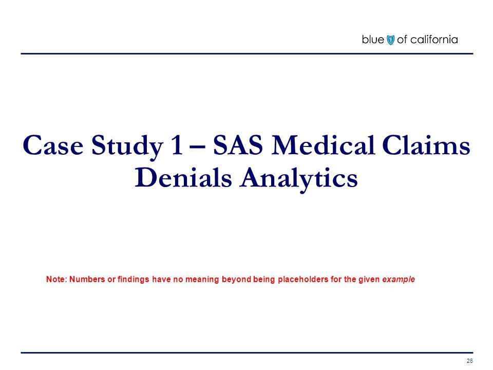 Case Study 1 – SAS Medical Claims Denials Analytics