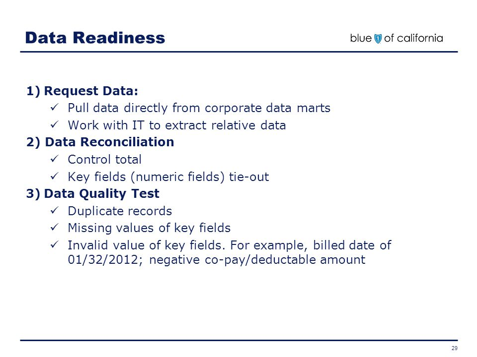 Data Readiness Request Data: