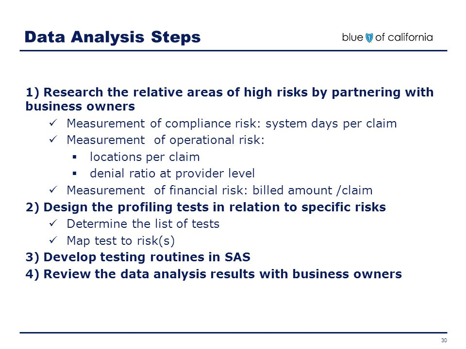Data Analysis Steps Research the relative areas of high risks by partnering with business owners.