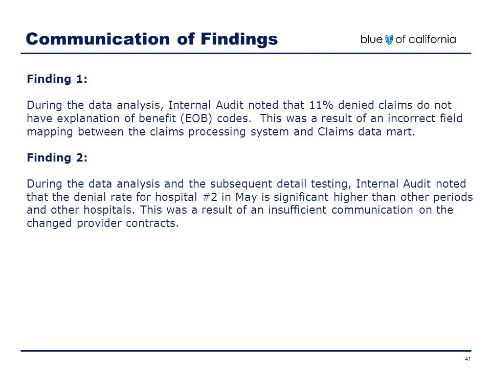 Communication of Findings