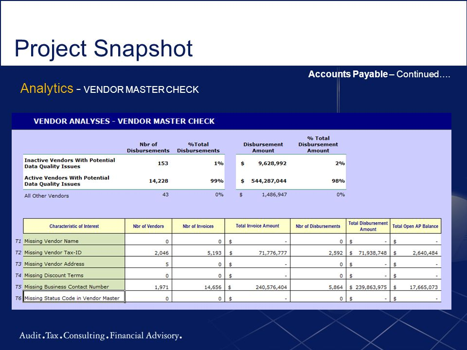 Project Snapshot Analytics - VENDOR MASTER CHECK