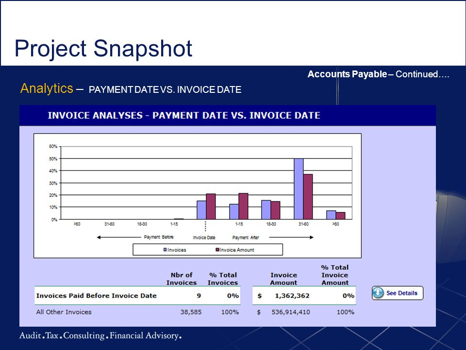 Project Snapshot Analytics – PAYMENT DATE VS. INVOICE DATE