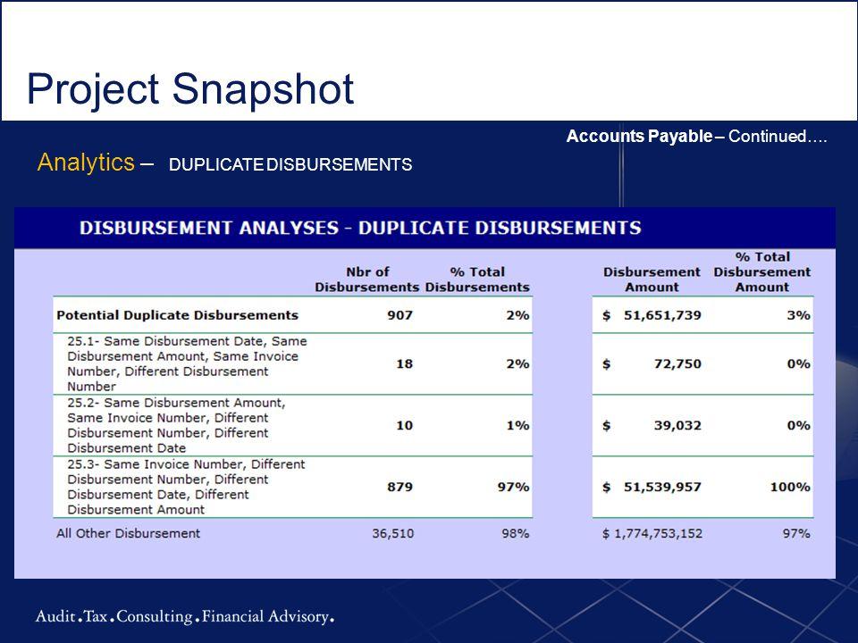 Project Snapshot Analytics – DUPLICATE DISBURSEMENTS
