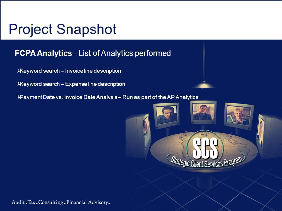 Project Snapshot FCPA Analytics– List of Analytics performed