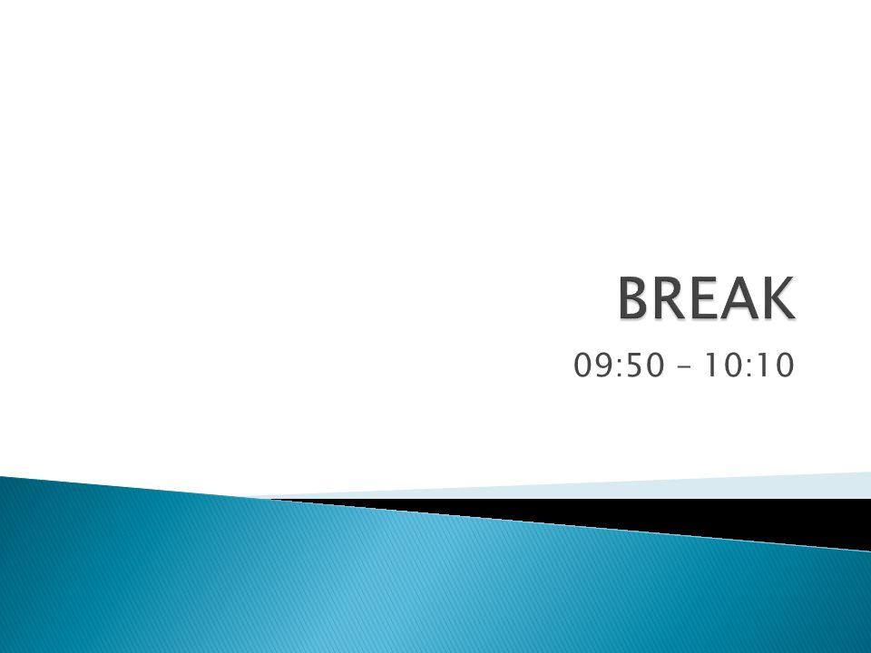BREAK 09:50 – 10:10