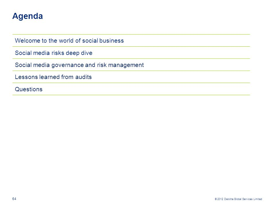 Agenda Welcome to the world of social business