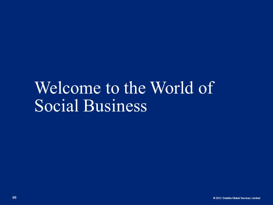 Welcome to the World of Social Business