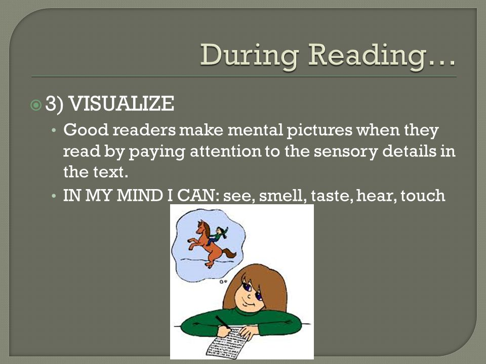 During Reading… 3) VISUALIZE