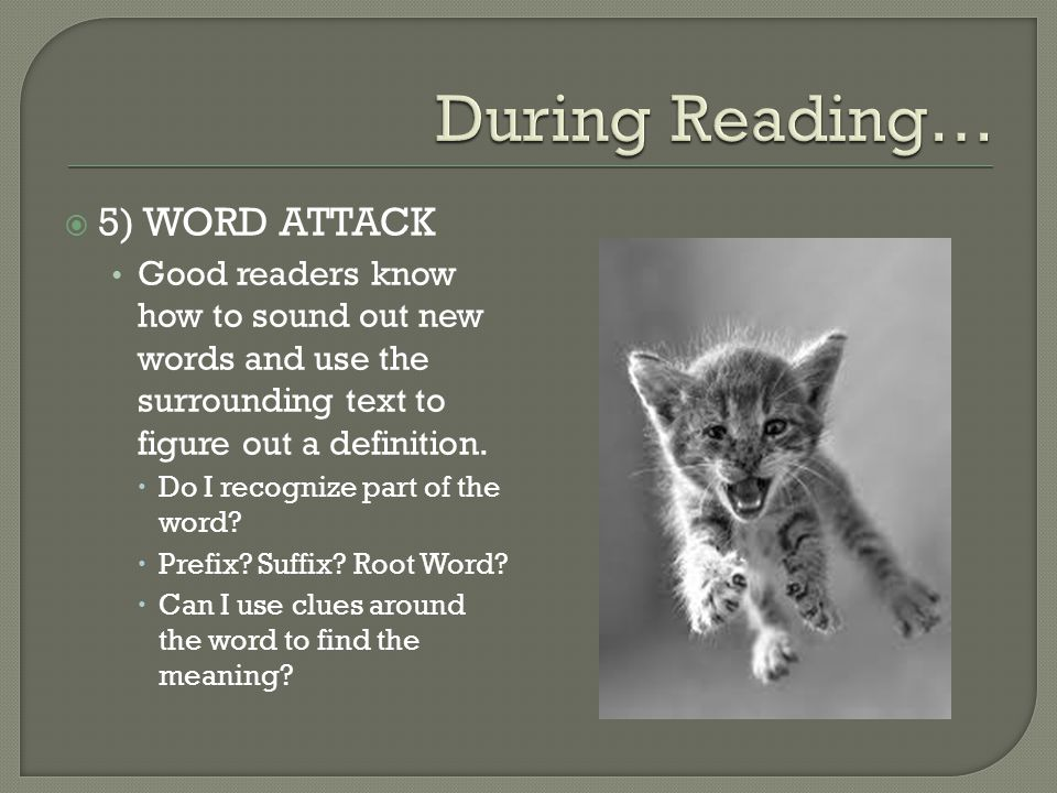 During Reading… 5) WORD ATTACK