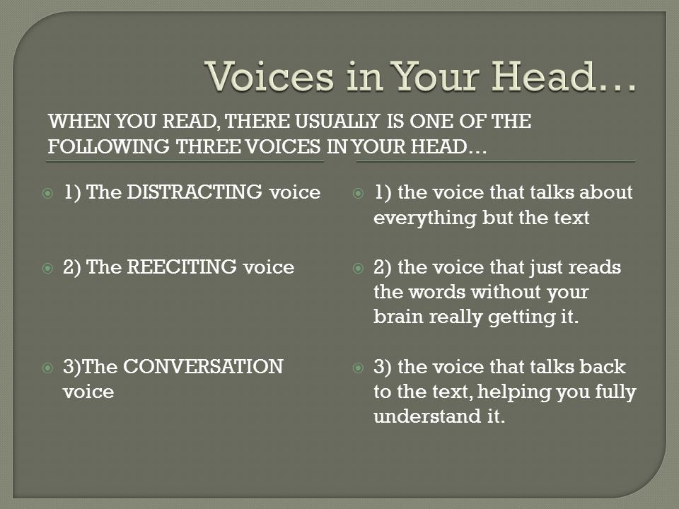 Voices in Your Head… When you read, there usually is one of the following three voices in your head…
