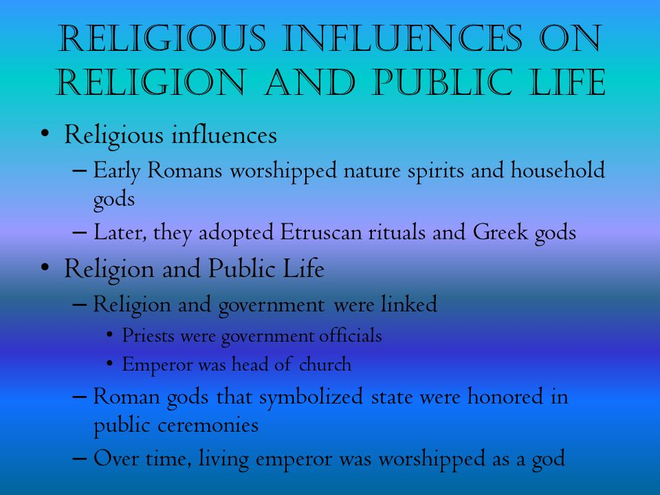 Religious Influences on Religion and Public Life