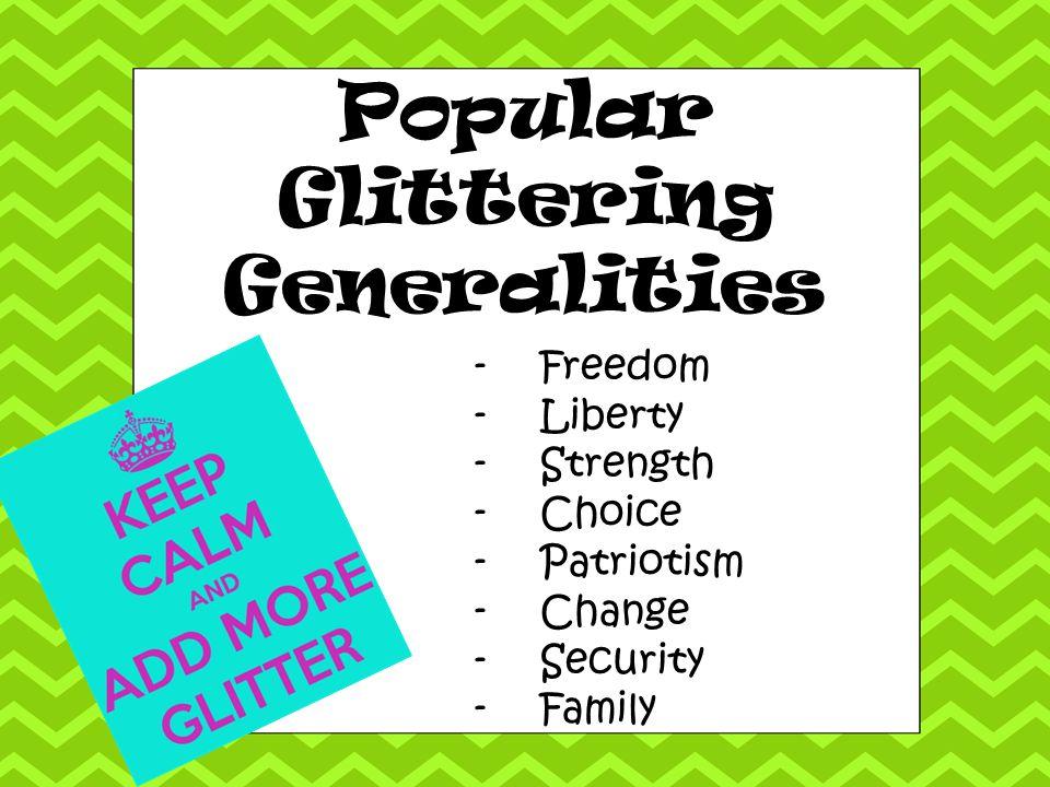 Popular Glittering Generalities