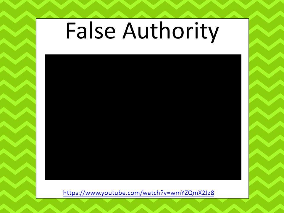 False Authority https://www.youtube.com/watch v=wmYZQmX2Jz8