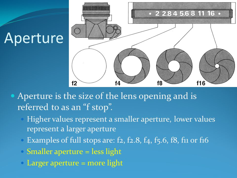 Aperture Aperture is the size of the lens opening and is referred to as an f stop .