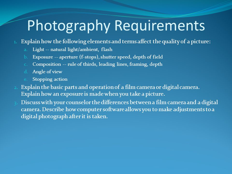 Photography Requirements