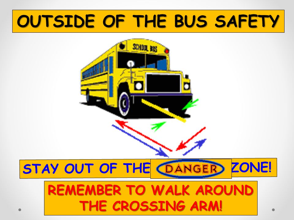 OUTSIDE OF THE BUS SAFETY REMEMBER TO WALK AROUND THE CROSSING ARM!