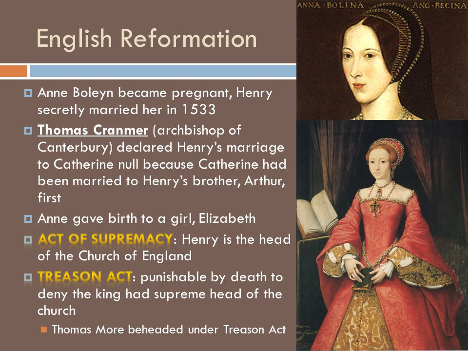 English Reformation Anne Boleyn became pregnant, Henry secretly married her in 1533.