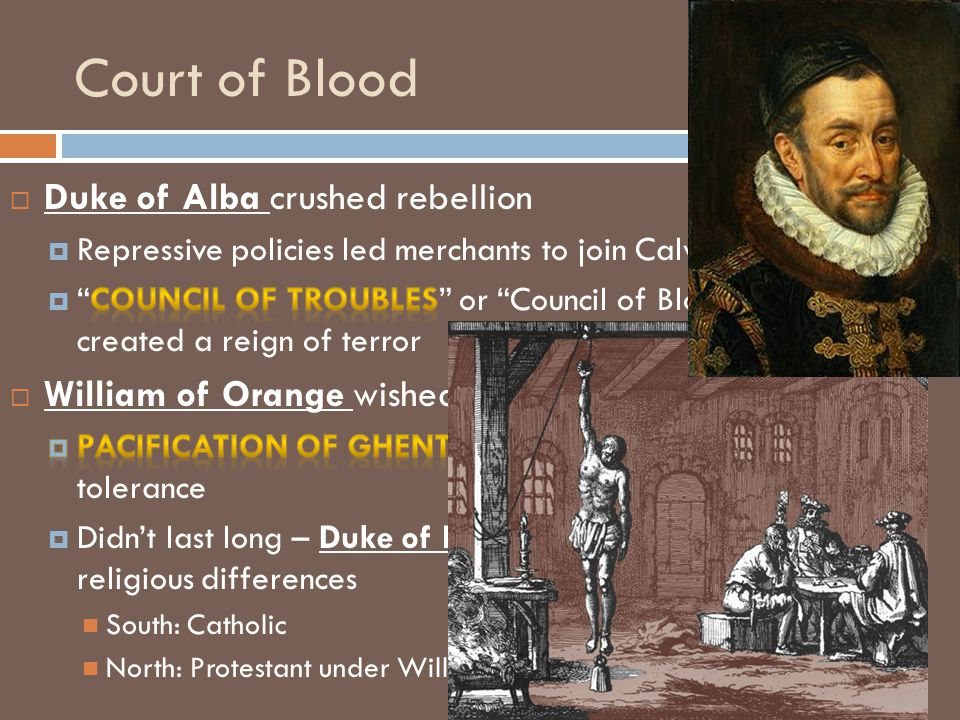 Court of Blood Duke of Alba crushed rebellion
