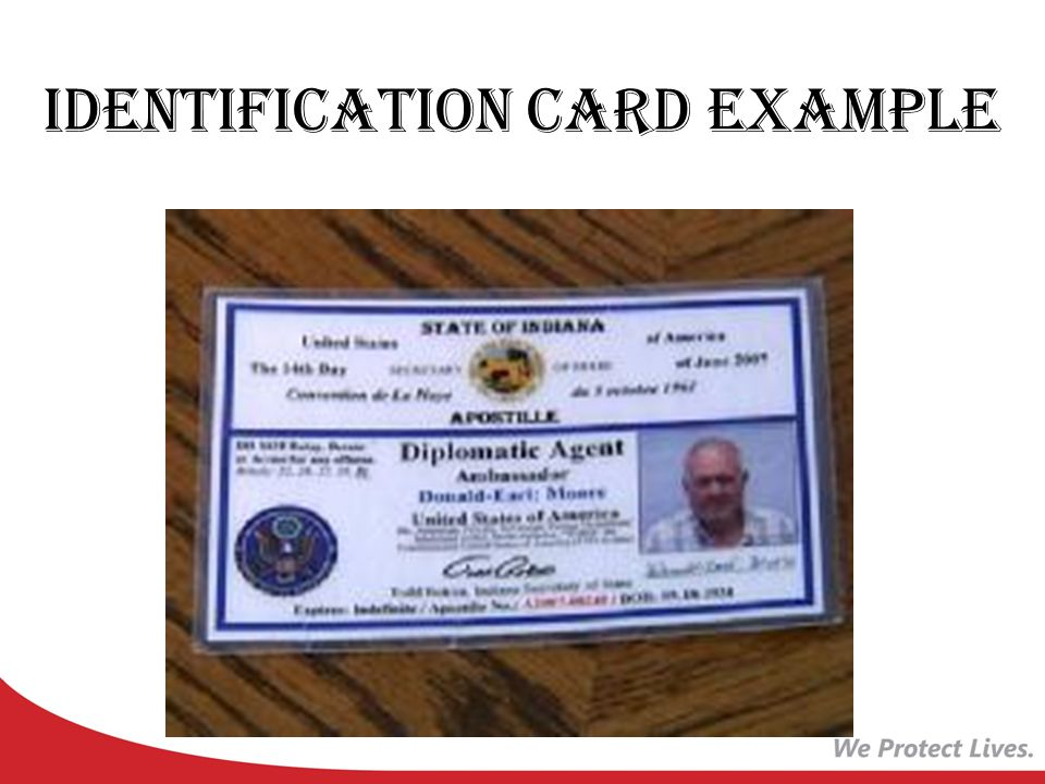 Identification Card Example