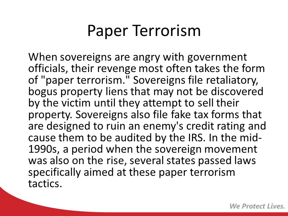Paper Terrorism