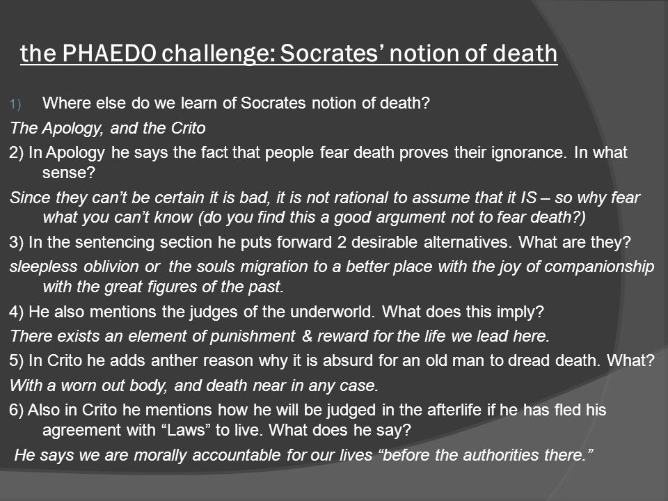 the PHAEDO challenge: Socrates' notion of death